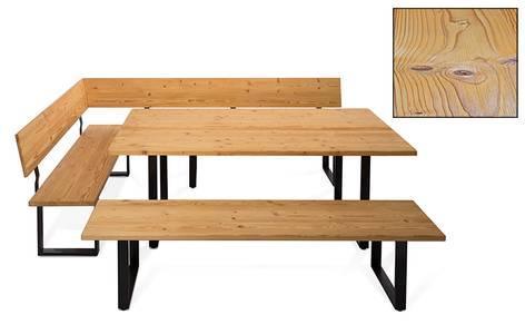 CURBY Essgruppe, rustikale Altholzoptik, Material Massivholz, Fichte gebürstet