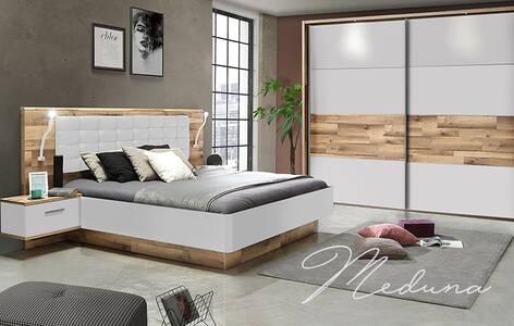 MEDUNA Komplett-Schlafzimmer, Material Dekorspanplatte, eichefarbig/weiss