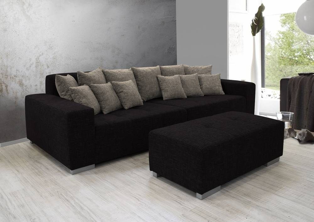 ariva 3 big sofa couch polstersofa stabil inkl kissen stoffbezug schwarz grau ebay. Black Bedroom Furniture Sets. Home Design Ideas