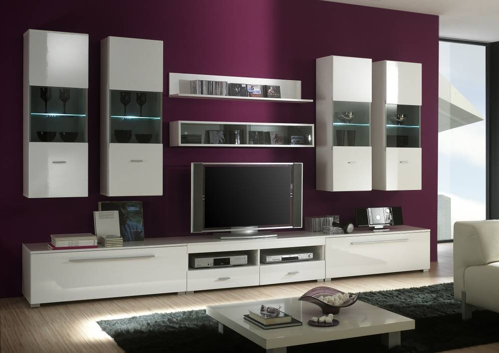 wohnwand anbauwand tv wand schrankwand isanti weiss. Black Bedroom Furniture Sets. Home Design Ideas