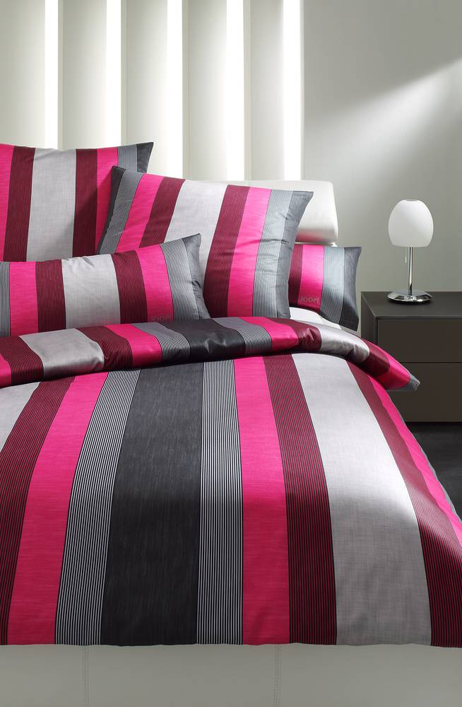 joop bettw sche bettbezug bett kissenbezug lucern stripes 155x220 80x80 rot ebay. Black Bedroom Furniture Sets. Home Design Ideas