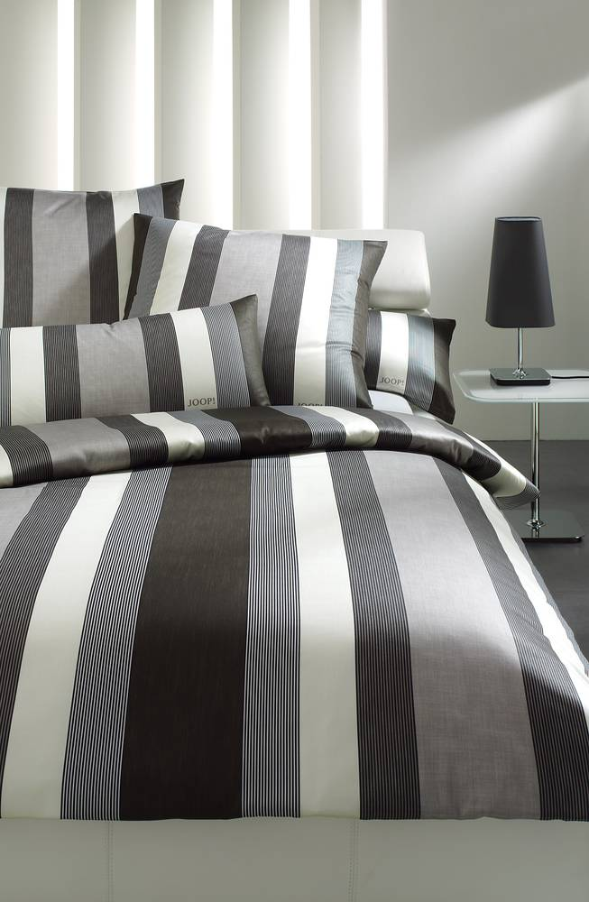 joop bettw sche bettbezug bett kissenbezug lucern stripes 135x200 80x80 grau ebay. Black Bedroom Furniture Sets. Home Design Ideas