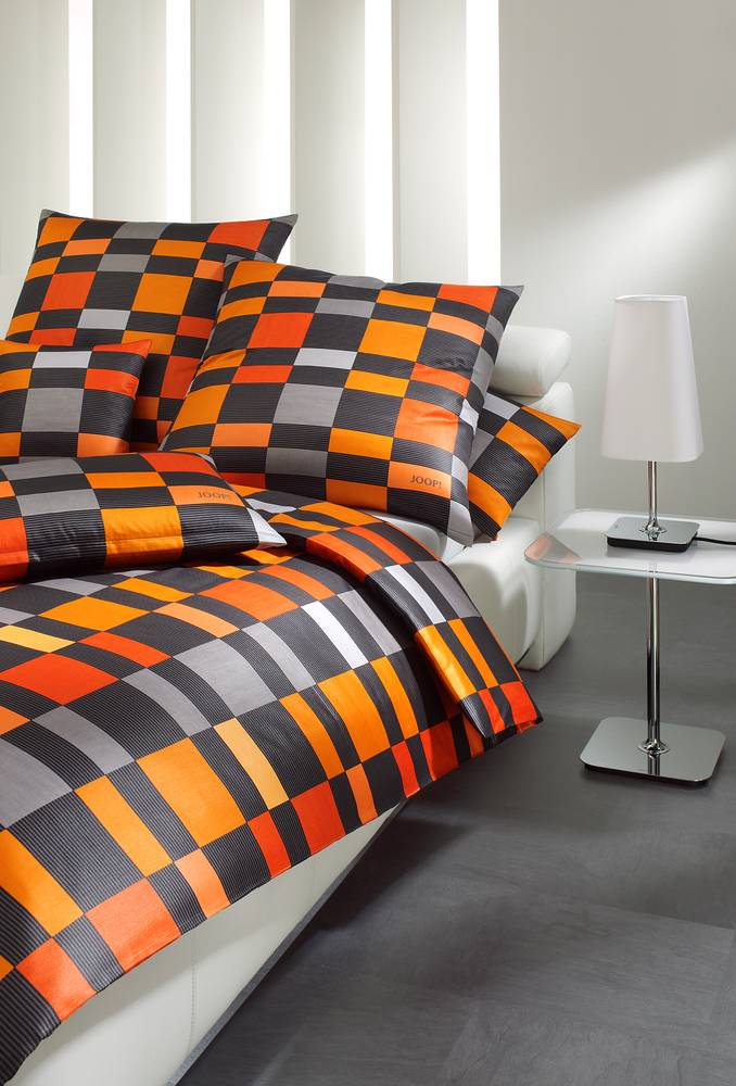joop bettw sche bettbezug bett kissenbezug lucern squares 155x220 80x80 orange ebay. Black Bedroom Furniture Sets. Home Design Ideas