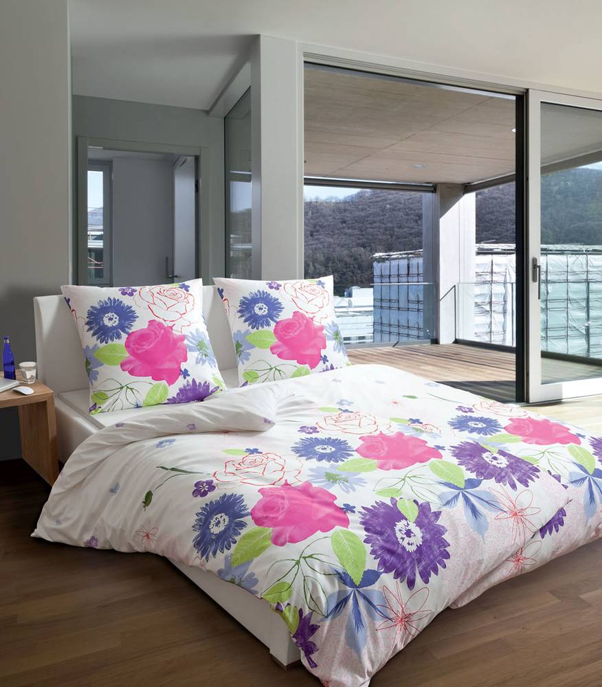 janine modern art 4100 bettw sche mako satin baumwolle 135x200 blumen blau rosa ebay. Black Bedroom Furniture Sets. Home Design Ideas
