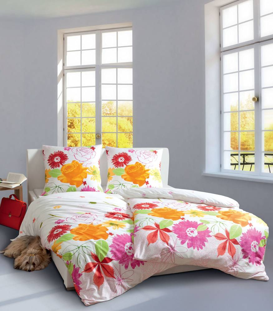 janine modern art 4100 bettw sche mako satin baumwolle 135x200 blumen orange rot ebay. Black Bedroom Furniture Sets. Home Design Ideas