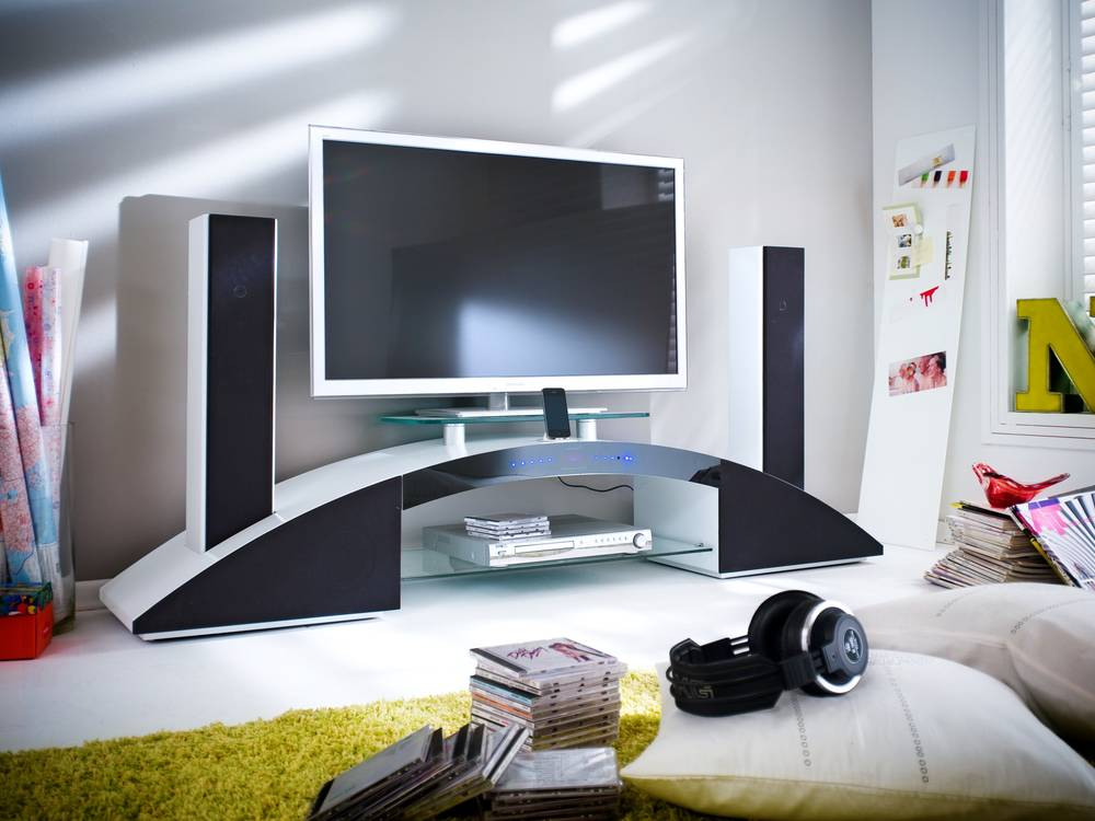 arc tv rack inkl lautsprecher subwoofer tv schrank kommode lowboard ebay. Black Bedroom Furniture Sets. Home Design Ideas