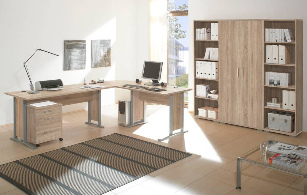 office line heimb ro 7 tlg eiche dekor b ro kombination schreibtisch schrank ebay. Black Bedroom Furniture Sets. Home Design Ideas