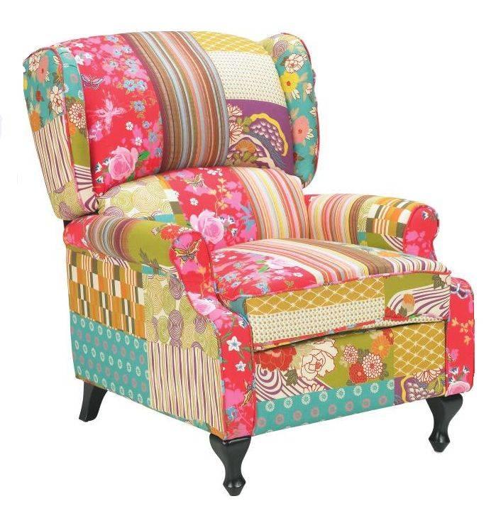 patchwork sessel toller polstersessel im patchwork design stuhl lehnstuhl bunt. Black Bedroom Furniture Sets. Home Design Ideas
