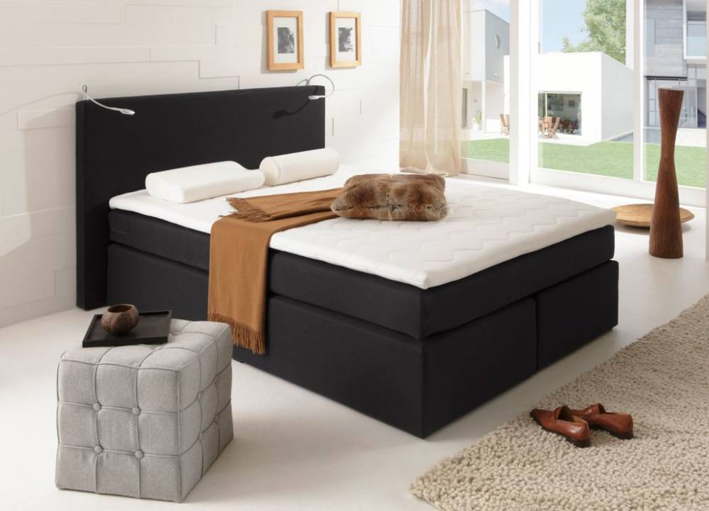 savanna boxspringbett doppelbett boxspring bett hotelbett 160x200 h3 schwarz. Black Bedroom Furniture Sets. Home Design Ideas