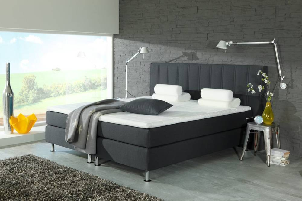 orlando boxspringbett doppelbett polsterbett 160 x 200 cm anthrazit inkl topper ebay. Black Bedroom Furniture Sets. Home Design Ideas