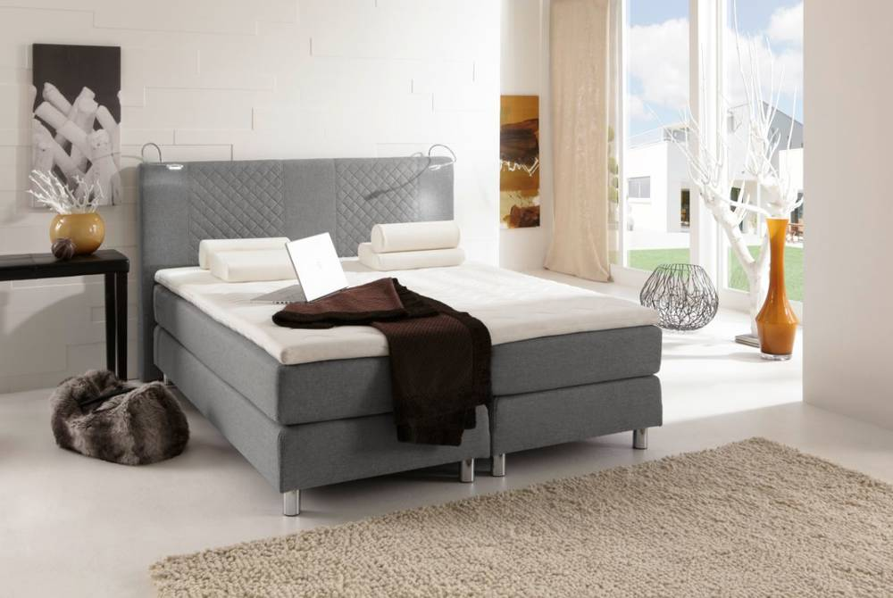 pasadena boxspringbett doppelbett 140 x 200 cm grau. Black Bedroom Furniture Sets. Home Design Ideas