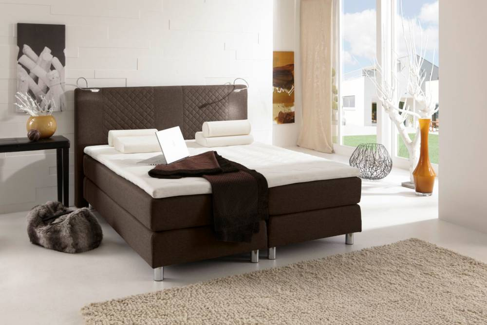 pasadena boxspringbett doppelbett schlafzimmer hochwertig 180 x 200 cm braun ebay. Black Bedroom Furniture Sets. Home Design Ideas