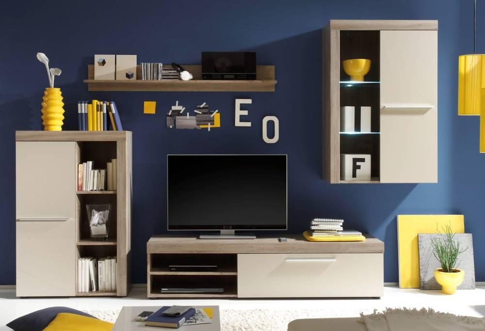 steve wohnwand eiche tr ffel sonoma sandgrau. Black Bedroom Furniture Sets. Home Design Ideas