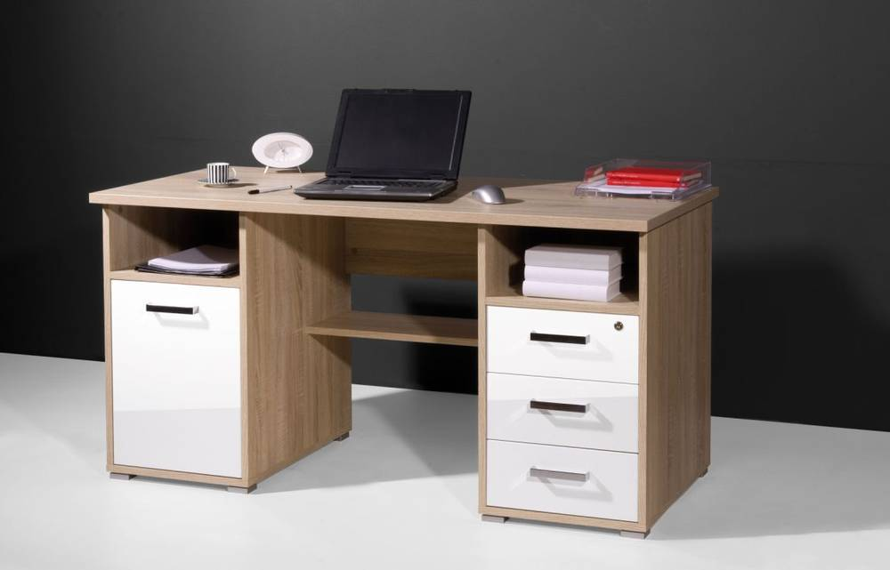 samia schreibtisch tisch arbeitstisch office tisch 3 sch be sonoma eiche wei ebay. Black Bedroom Furniture Sets. Home Design Ideas
