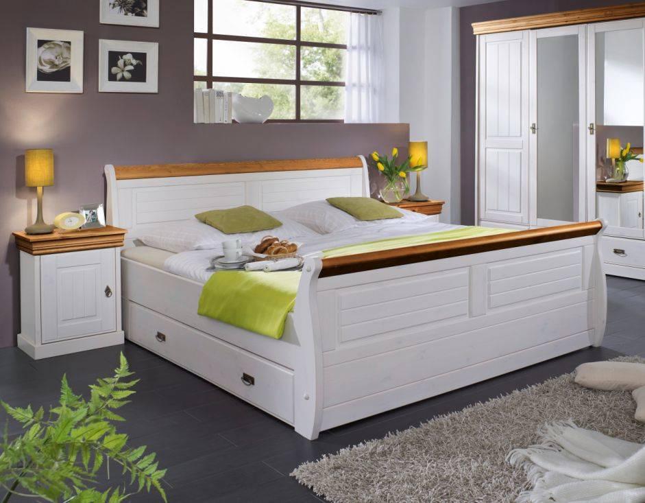romeo doppelbett massivholzbett bett schlafzimmer 180x200 kiefer wei honig ebay. Black Bedroom Furniture Sets. Home Design Ideas