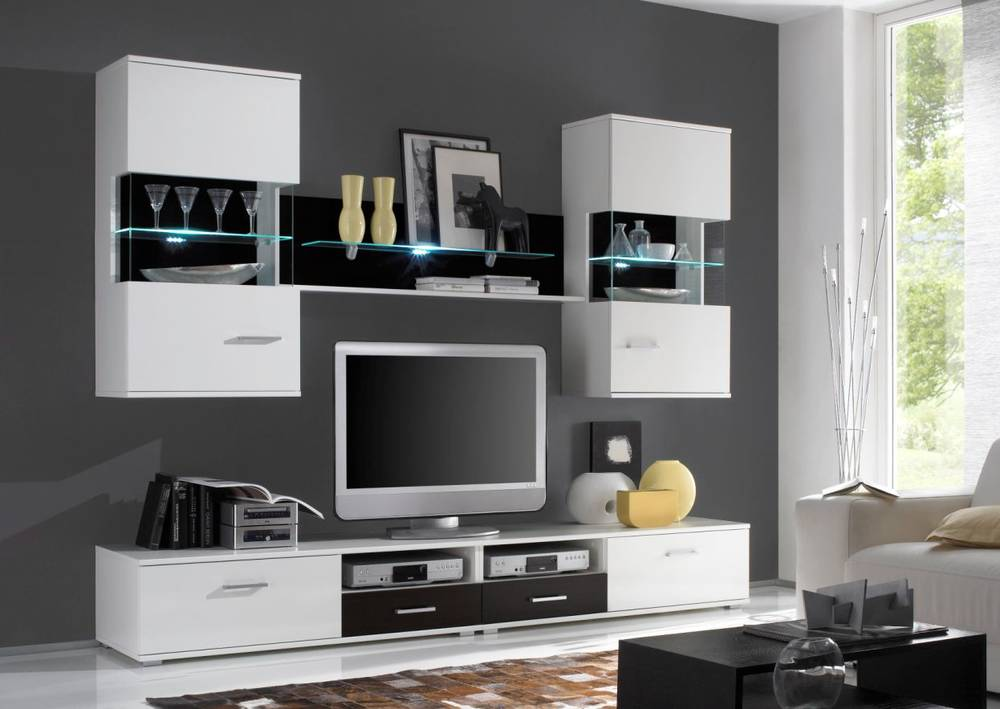 famina wohnwand tv wand schrankwand regal wei schwarz. Black Bedroom Furniture Sets. Home Design Ideas