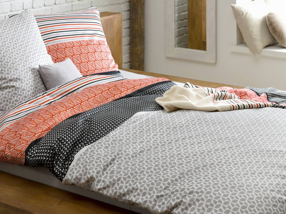 s oliver feinflanell bettw sche 135x200 80x80 orange grau. Black Bedroom Furniture Sets. Home Design Ideas