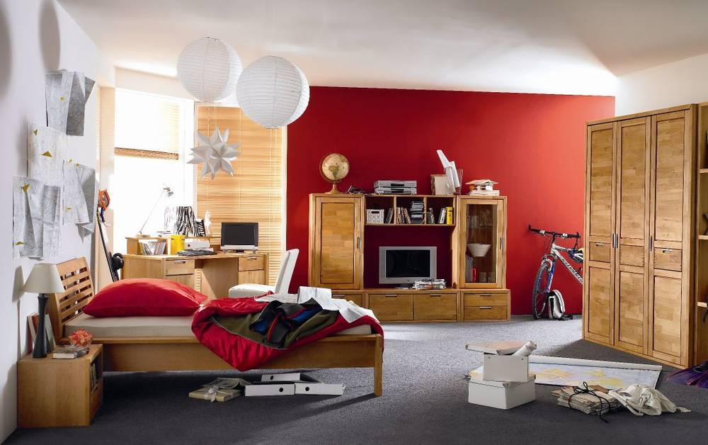 volo 4 teiliges komplett jugendzimmer kinderzimmer erle massiv mit schrank ebay. Black Bedroom Furniture Sets. Home Design Ideas