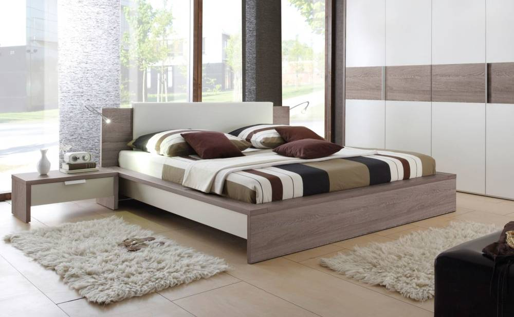 eco futonbett bett doppelbett futonbett 180x200 dekor eiche tr ffel dunkel wei ebay. Black Bedroom Furniture Sets. Home Design Ideas