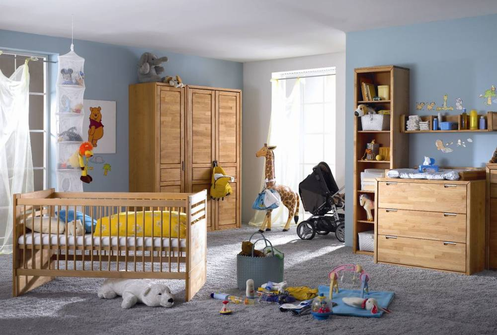volo 3 tlg komplett babyzimmer kinderzimmer erle massiv kommode schrank bett ebay. Black Bedroom Furniture Sets. Home Design Ideas