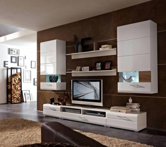 flinn wohnwand i wohnzimmer anbauwand schrankwand wei sonoma eiche dunkel. Black Bedroom Furniture Sets. Home Design Ideas
