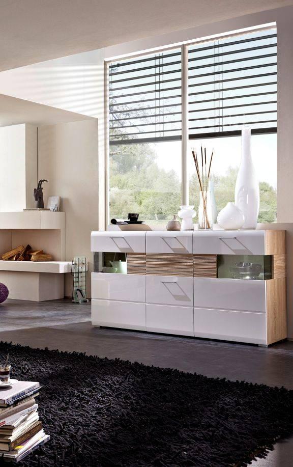 flinn sideboard vitrine wohnzimmer schrank kommode wei sonoma eiche hell ebay. Black Bedroom Furniture Sets. Home Design Ideas