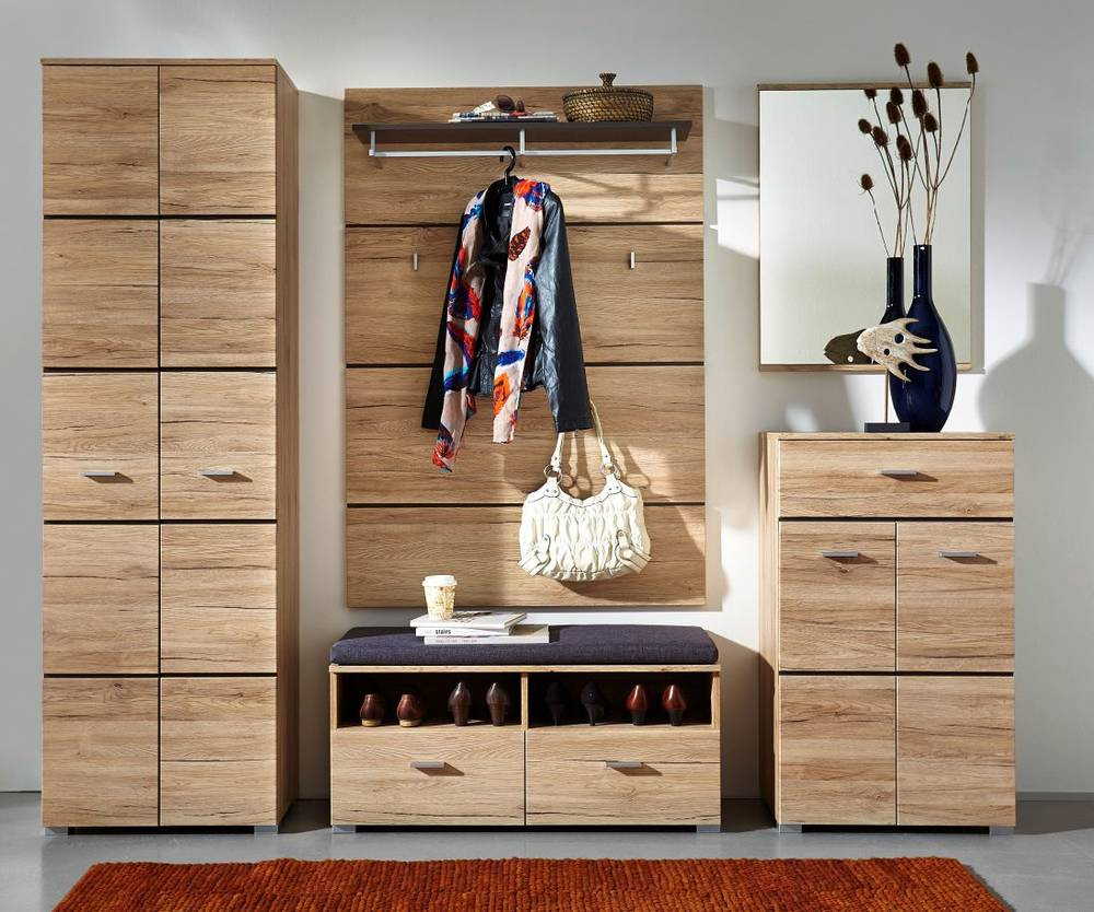 feodora komplettgarderobe schrank garderoben set garderobe san remo eiche hell ebay. Black Bedroom Furniture Sets. Home Design Ideas
