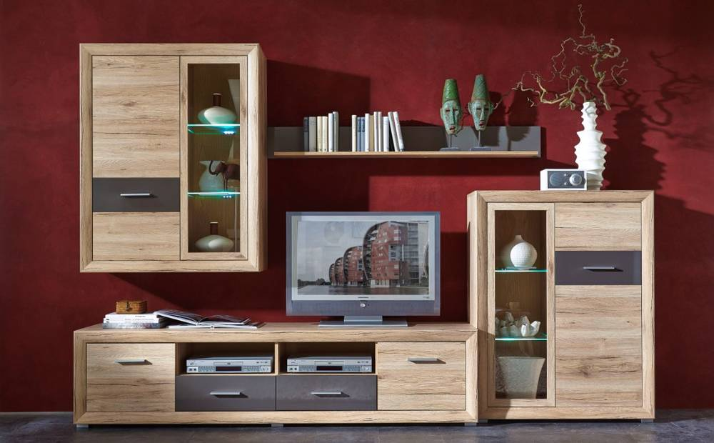 sacco wohnwand i schrankwand anbauwand tv board schrank san remo eiche graphit ebay. Black Bedroom Furniture Sets. Home Design Ideas
