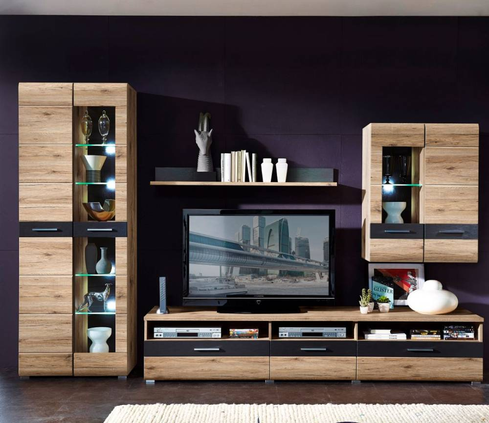 sancho wohnwand ii schrankwand anbauwand schrank san remo eiche hell schiefer ebay. Black Bedroom Furniture Sets. Home Design Ideas