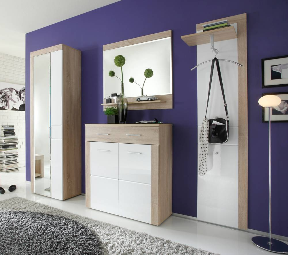 sperantia garderobe 4tlg eiche hell nb weiss. Black Bedroom Furniture Sets. Home Design Ideas