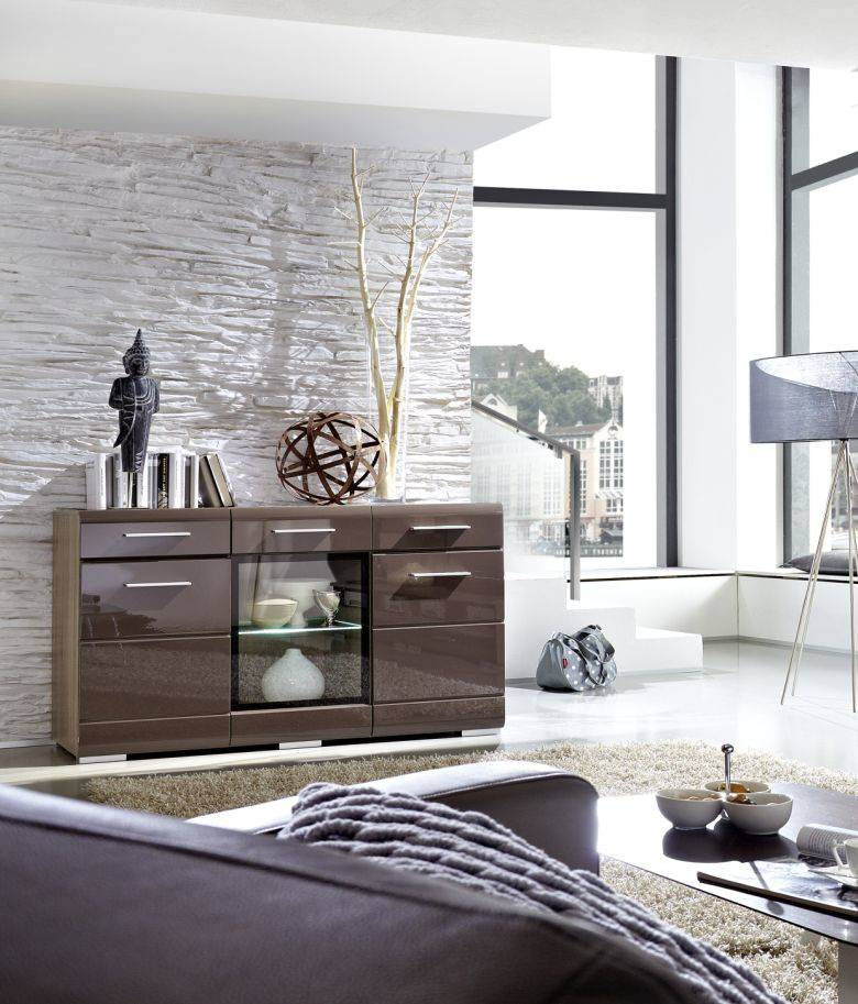 hotep sideboard sonoma eiche dunkel schwarzbraun. Black Bedroom Furniture Sets. Home Design Ideas