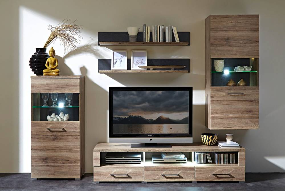 diego wohnwand iii san remo eiche schiefer. Black Bedroom Furniture Sets. Home Design Ideas