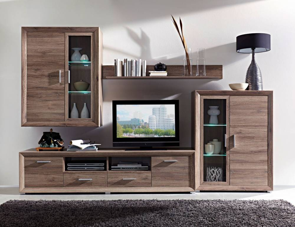 torero wohnwand i san remo eiche geriffelt. Black Bedroom Furniture Sets. Home Design Ideas