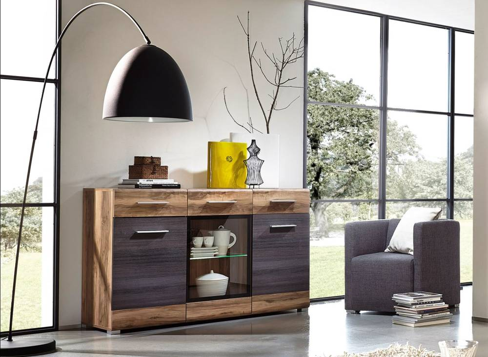 highlight sideboard nussbaum satin pinie dunkel touchwo. Black Bedroom Furniture Sets. Home Design Ideas