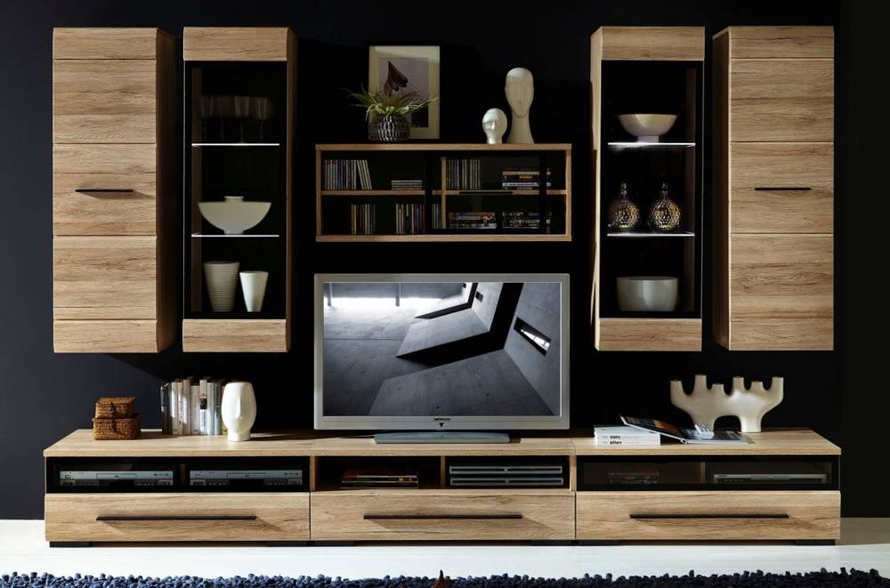 heaven wohnwand san remo eiche hell abs schwarz. Black Bedroom Furniture Sets. Home Design Ideas