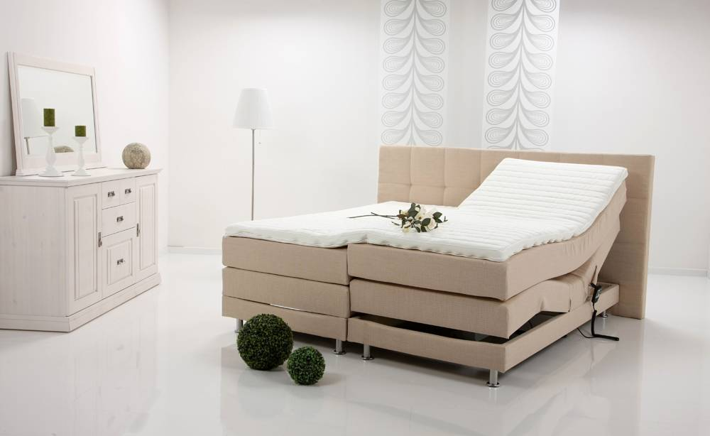 alessa elektrisches boxspringbett polsterdoppelbett schlafzimmer 100x200 beige ebay. Black Bedroom Furniture Sets. Home Design Ideas