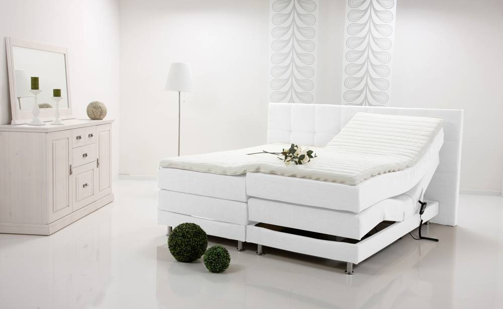 alessa elektrisches boxspringbett boxspring bett hotelbett wei weiss 140x200 h2 ebay. Black Bedroom Furniture Sets. Home Design Ideas