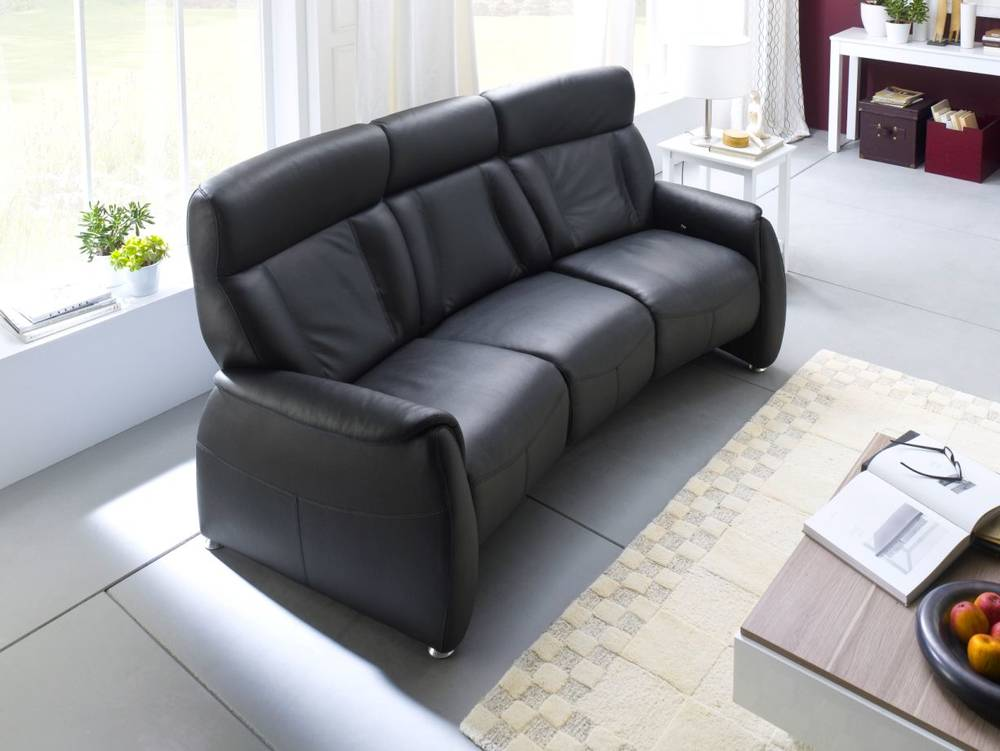 taavi 3 sitzer sofa polstersofa couch leder echtleder schwarz 5 relaxfunktionen ebay. Black Bedroom Furniture Sets. Home Design Ideas