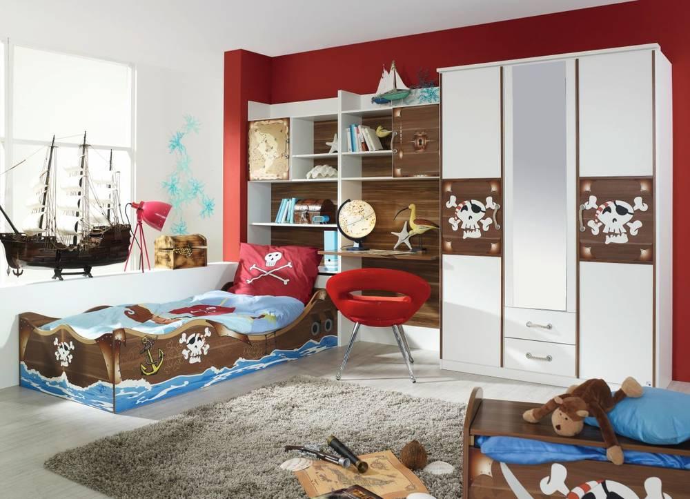 Karibik 4 tlg kinderzimmer jugendzimmer mit bett regal for Piraten kinderzimmer komplett