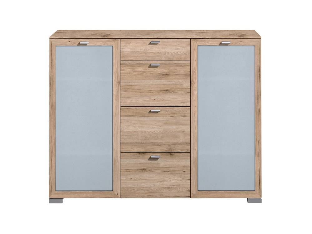 arte m gallery highboard 2 t ren mit milchglas 4 schubk sten eiche sand. Black Bedroom Furniture Sets. Home Design Ideas