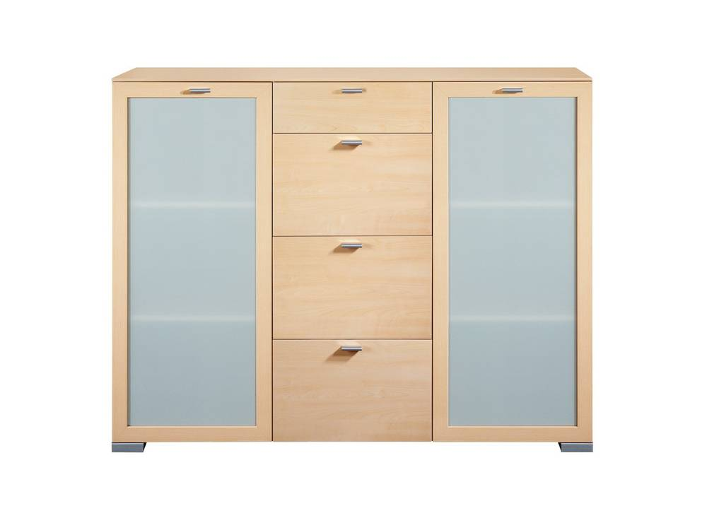 arte m gallery highboard 2 t ren mit milchglas 4 schubk sten ahorn. Black Bedroom Furniture Sets. Home Design Ideas
