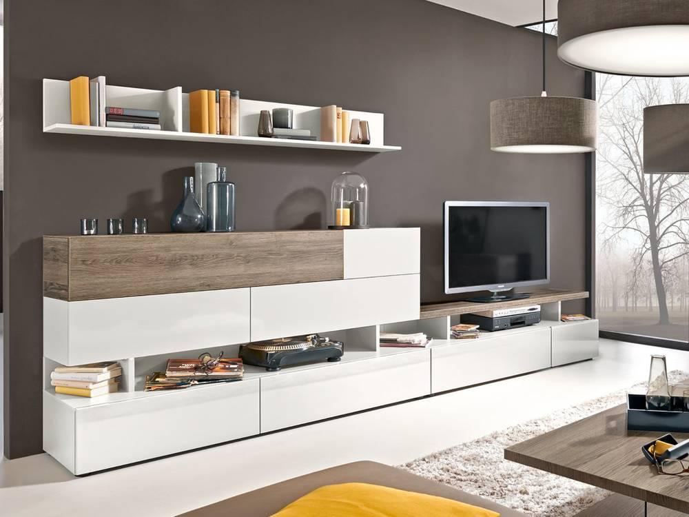 arte m beam w wohnwand iii wohnzimmerwand anbauwand weiss eiche dunkel. Black Bedroom Furniture Sets. Home Design Ideas