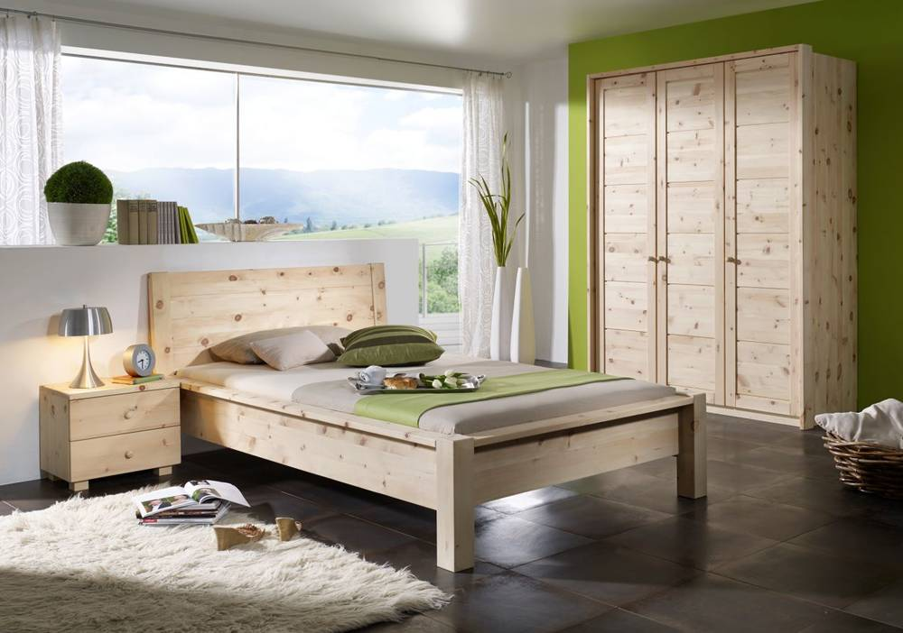 davos schlafzimmer 3 t riger schrank 120x200 bett massivholz zirbenholz lackiert ebay. Black Bedroom Furniture Sets. Home Design Ideas