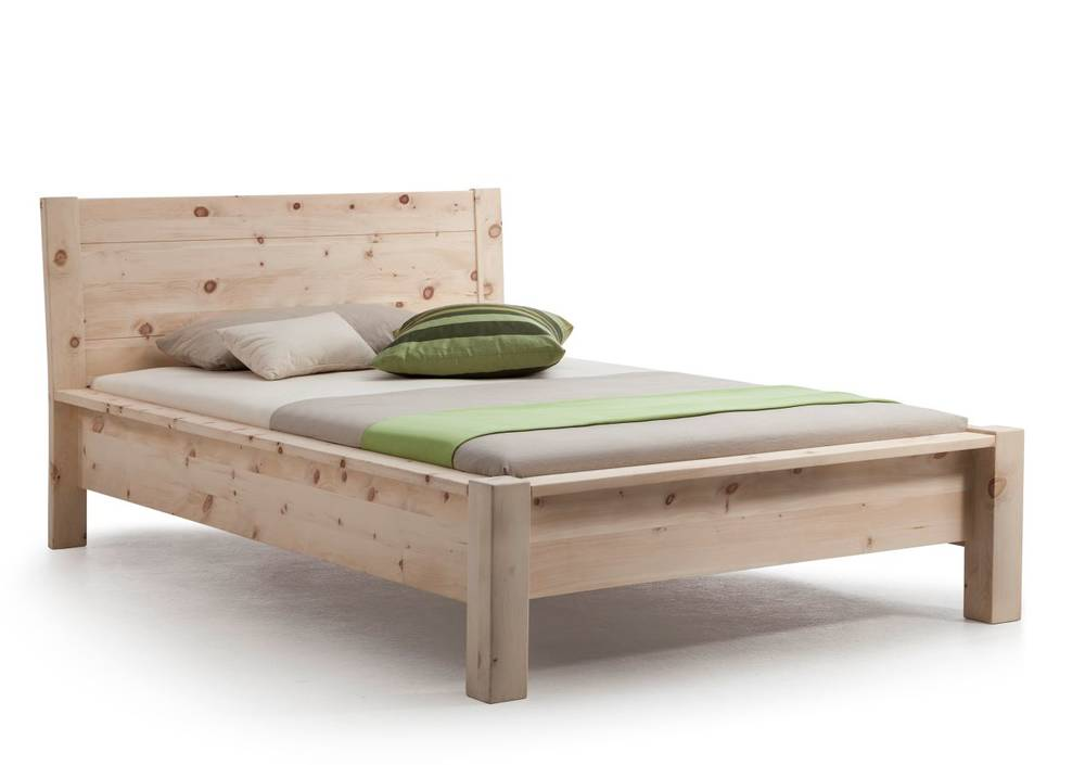 DAVOS Einzelbett/Doppelbett/Massivholzbett Zirbe roh 90 x ...