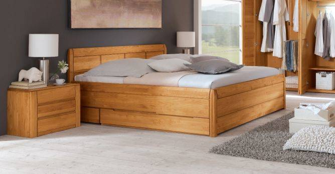 gamma doppelbett massivholzbett holzbett bett mit bettkasten 180x200 erle ge lt ebay. Black Bedroom Furniture Sets. Home Design Ideas