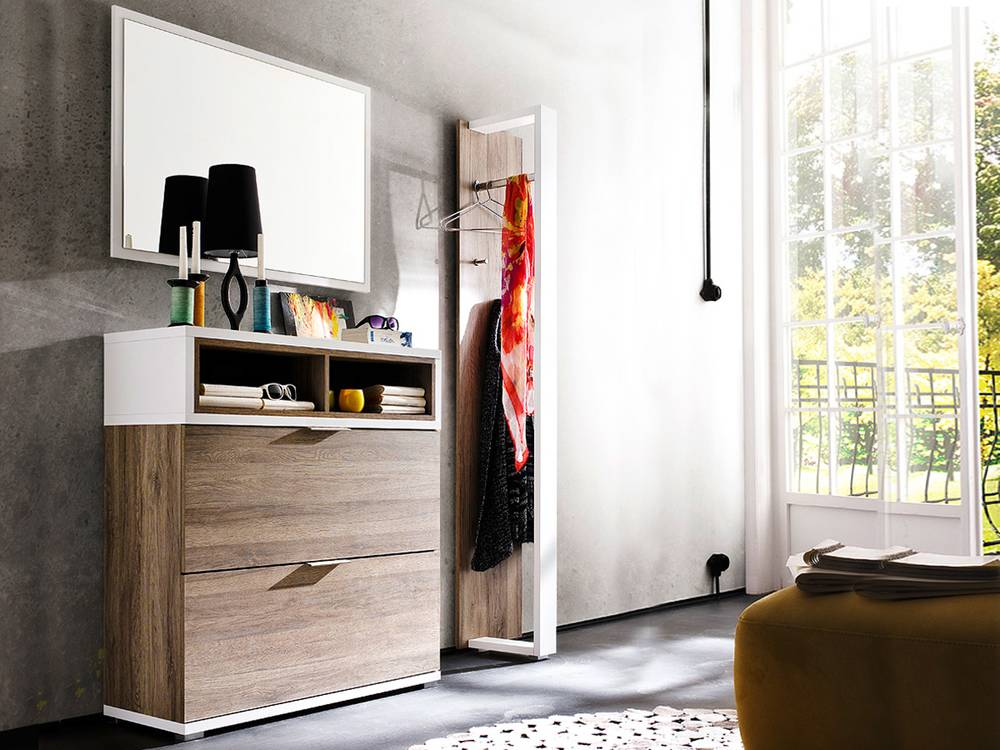 canu i komplett garderobe eiche rustika weiss. Black Bedroom Furniture Sets. Home Design Ideas