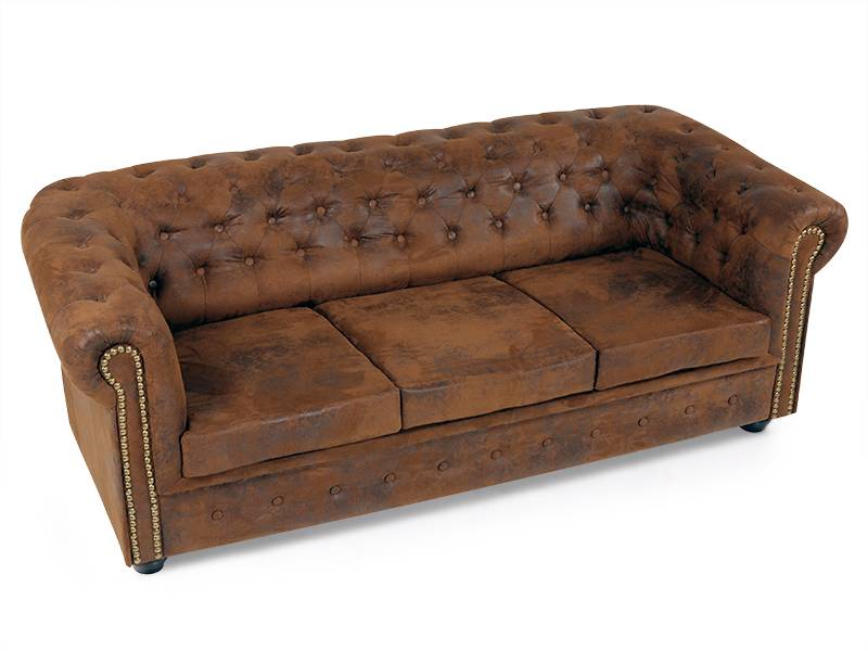 chesterfield 3er sofa polstersofa in leder optik hochwertige couch gobi braun ebay. Black Bedroom Furniture Sets. Home Design Ideas