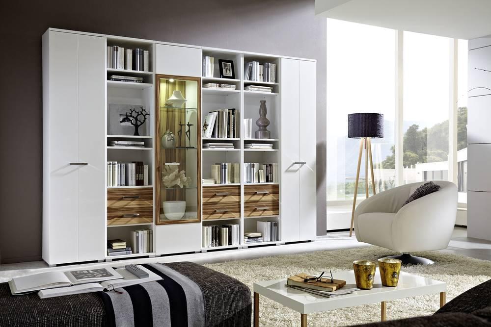 Möbel- Eins CHITA Wohnwand II Weiß Hochglanz Weiß Baltimore