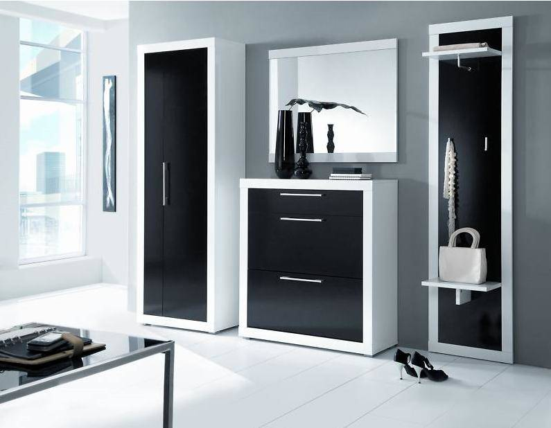 dielenm bel garderobe schrank collin 4tlg schwarz weiss. Black Bedroom Furniture Sets. Home Design Ideas