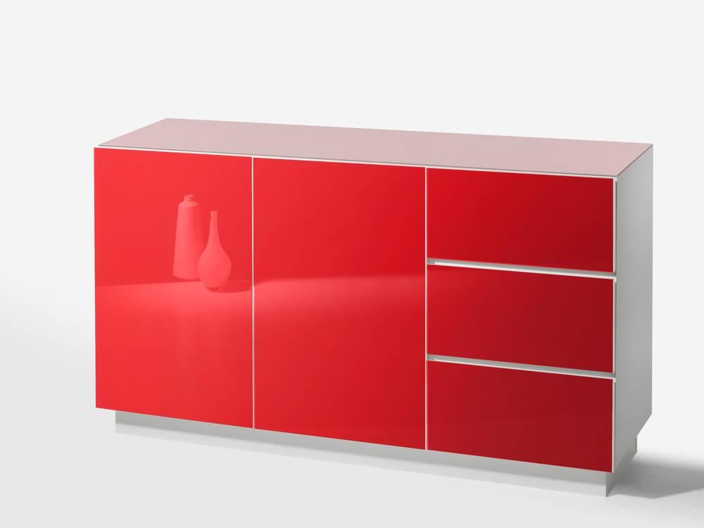 Colour Hochglanz Kommode 2 Türen + 3 Schubkästen weiß/rot